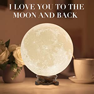 Mydethun Moon Lamp Moon Light Night Light Kids Gift Women USB Charging Touch Control Brightness 3D Printed Warm Cool White Lunar Lamp…