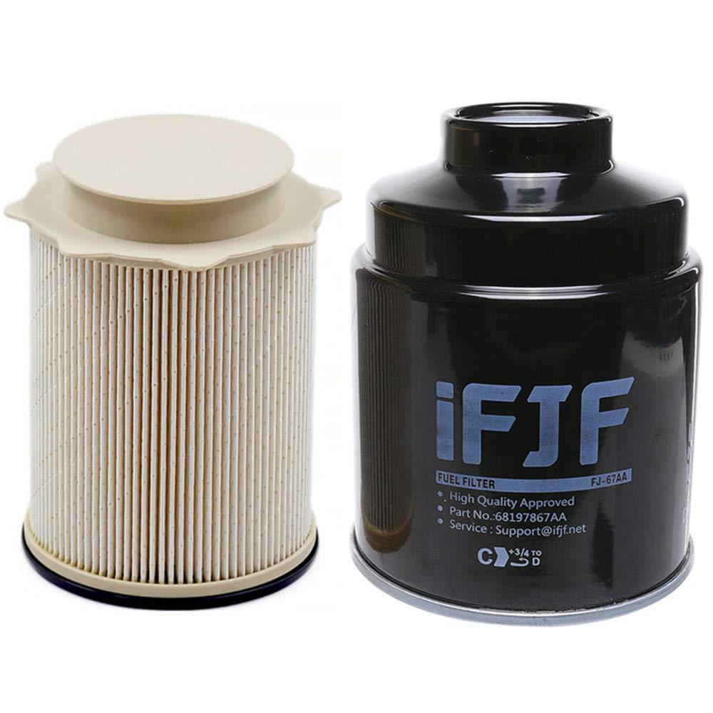 iFJF Fuel Filter Water Separator set for Dodge Ram 6.7L 2500 3500 4500 5500 6.7L Turbo Diesel Engines 68197867AA 68157291AA
