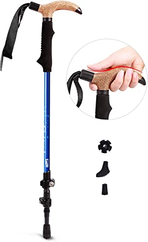 REDCAMP 2 in 1 Carbon Fiber Hiking Pole with Imitation Cork Handle, Ultralight Adjustable Trekking Cane and Walking Stick for Men Women, Black Blue Red
