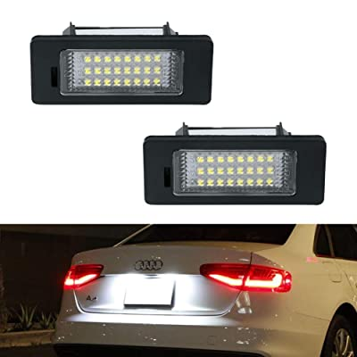 License Plate Light, Gempro 2Pcs LED License Plate Tag Lamp Assembly For Audi A1 A4 A5 A6 A7 S5 Q5 RS5 TT TTRS, Powered by 24SMD Xenon White LED Lights: Automotive