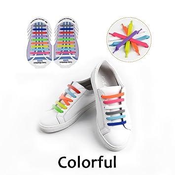 Cordones Silicona para Zapatillas - Impermeables Silicona EláStico CordóN de Zapato para Adultos y NiñOs - Sin Lavado para Zapatillas HaoXuan (Mezclar ...