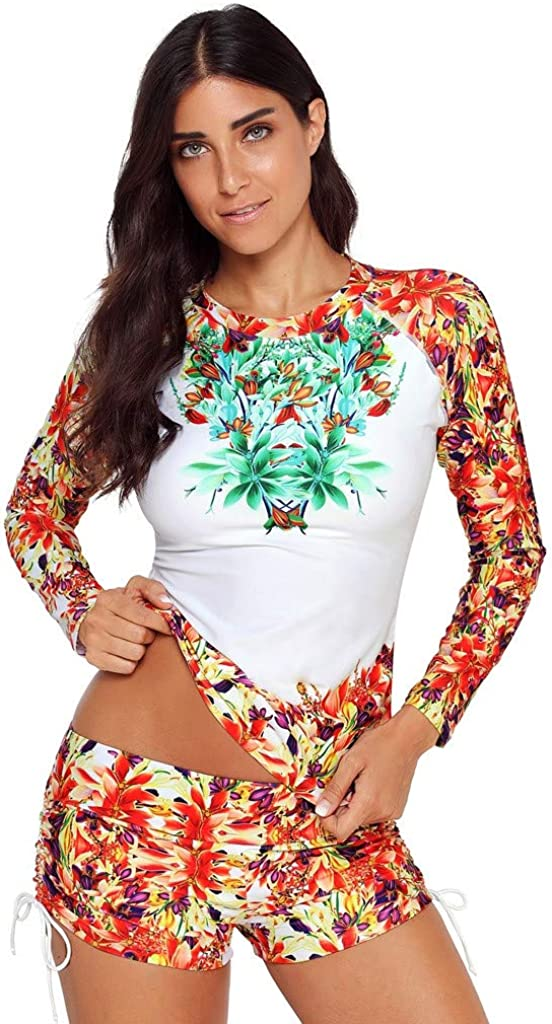 iYYVV Women Floral Print Quick-Drying Surfing Swimwear Sport Two Piece Shorts Swimsuit