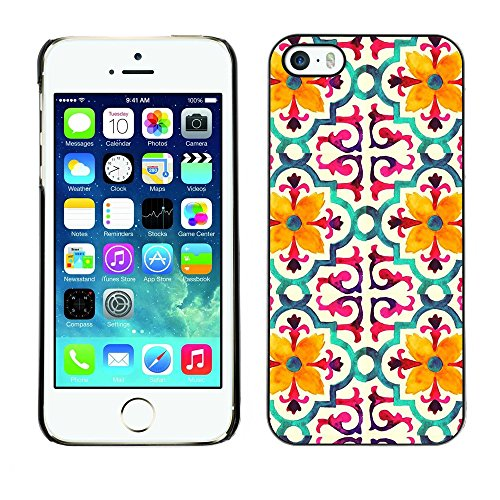 Soft Silicone Rubber Case Hard Cover Protective Accessory Compatible with Apple iPhone? 5 & 5S - flower stylized pattern yellow