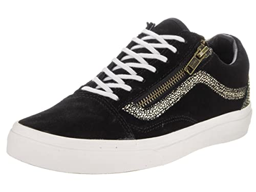 vans old skool zip trainers black and gold