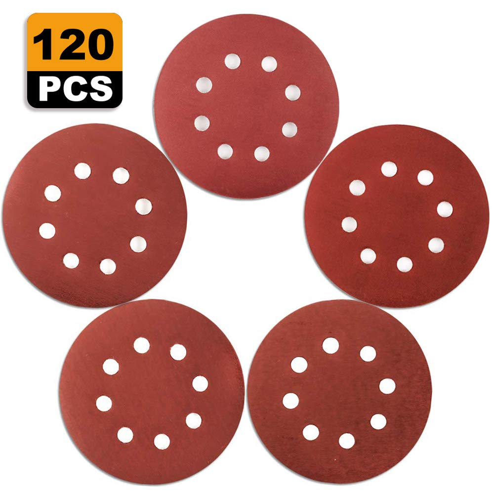 Coceca 120pcs 5 Inches Orbital High Grit Sanding Discs, 1000 1200 1500 2000 3000 Grits 8 Hole Orbital Sandpaper with Hook and Loop for Power Random Orbit Sander 611-VGLFX1L