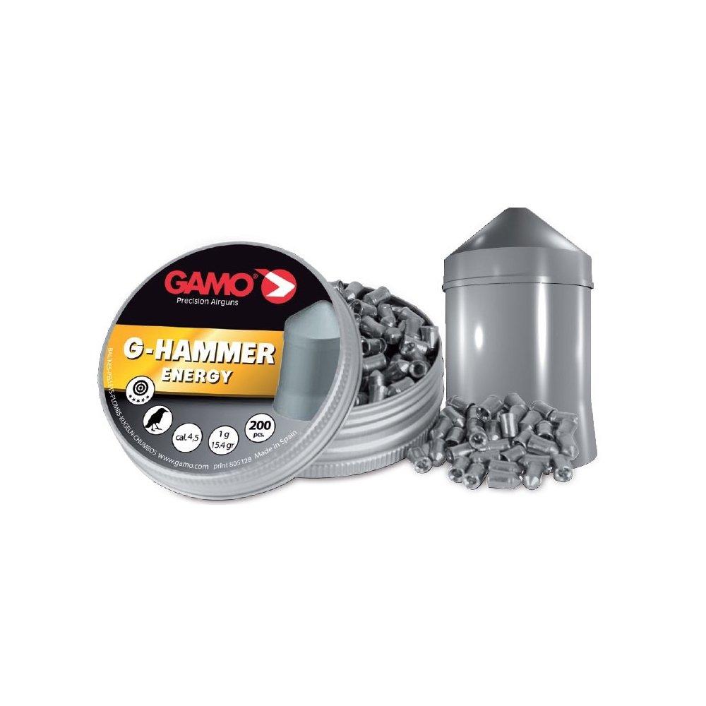 Gamo Lata de 200 balines G-Hammer Energy, Calibre 5,5 mm, Cabeza con Forma, penetra de Forma Enérgica, 6322823-C10