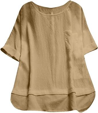 DEELIN Mujer Verano Cuello Redondo Manga Corta Color SóLido SuéTer Suelto Tops Plus Blusa Camis Crop Tops Blusa Camiseta: Amazon.es: Ropa y accesorios