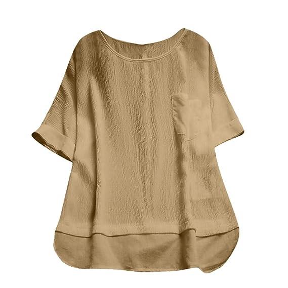 FRAUIT Hawai Blusa de Cuello Redondo de Las Mujeres Camiseta de Mujer Manga Corta Camiseta de Manga Corta Camisa de Color SóLido Tops Sueltos Ropa para ...
