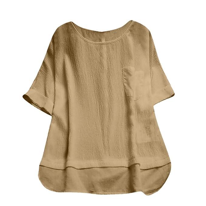 ... Sección Larga Camiseta Color sólido Cuello Redondo Arriba Tamaño Grande Salvaje Ocio Suelto Blusa Irregular Bolsillo Tops: Amazon.es: Ropa y accesorios