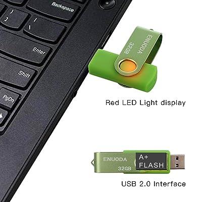 Memory Stick 8GB 5 Pack ENUODA USB 2.0 Flash Drives Storage Swivel Design Thumb Drive Black Purple Green Blue Red