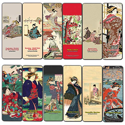 - Creanoso Japanese Ladies Bookmarks (60-Pack) Oiran Geisha Kimono Woodblock Print - Inspirational Japanese Art Impressions Bookmarker Cards - Premium Gift Collection for Men & Women, Teens - Page Clip
