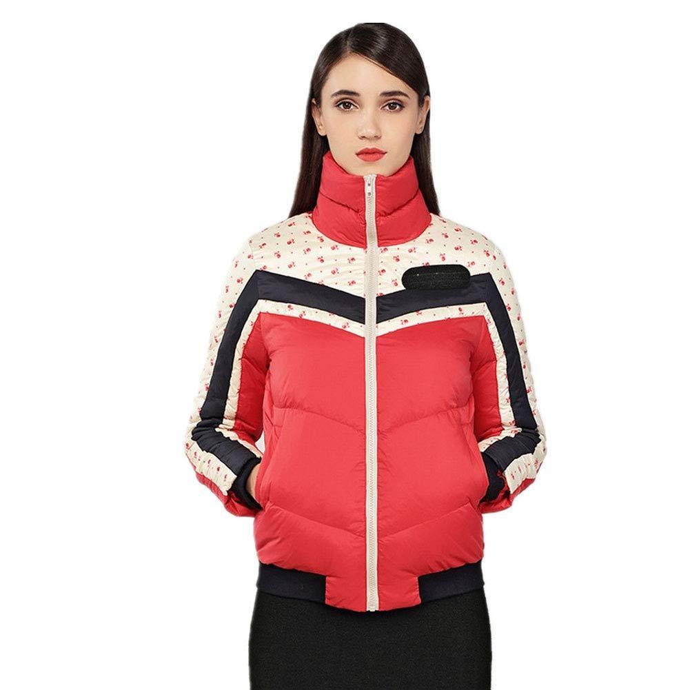 RSTJ-Sjc Herbst und Winter neue Damen europäische und amerikanische Daunenjacke Stehkragen warme kurze Daunenjacke, rot