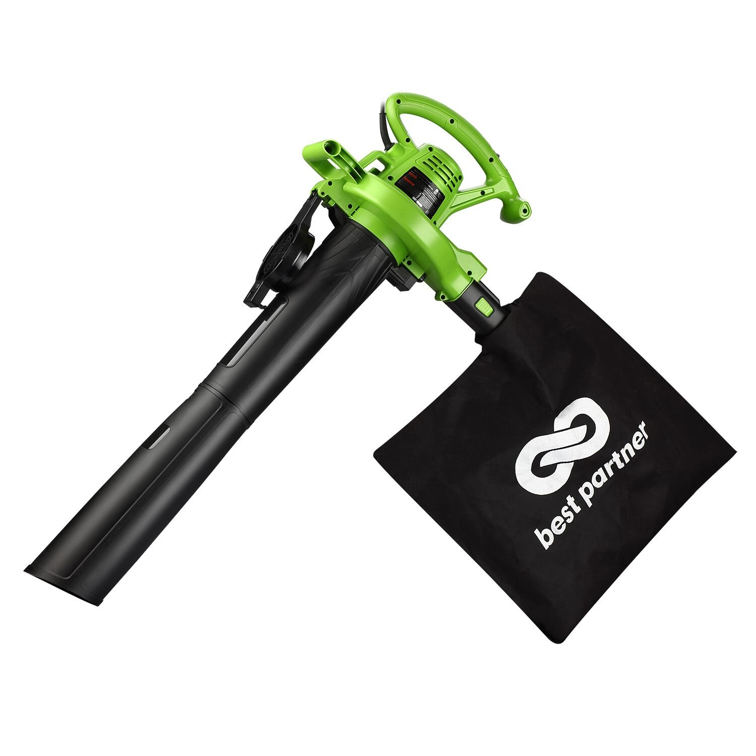 Best Partner Leaf Blower Vacuum/Mulcher with 2 Speed Control, 200 MPH Air Speed 12 AMP Motor and Collection Bag Included