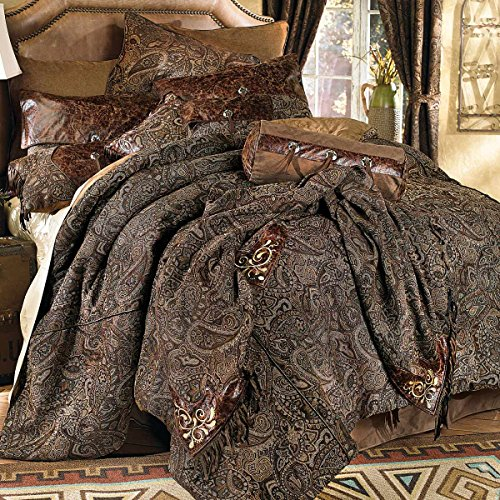 Western Paisley Beaumont Southwestern Bed Set - Queen - Rustic Bedding Decor (Leather Bedding Set)