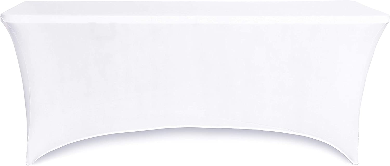 Obstal 6ft Stretch Spandex Table Cover for Standard Folding Tables - Universal Rectangular Fitted Tablecloth Protector for Wedding, Banquet and Party (White, 72 Length x 30 Width x 30 Height Inches)