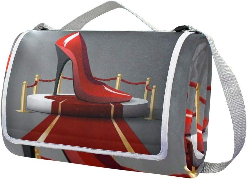 XINGAKA Coperta da Picnic Tappetino Campeggio,Aria Galleggiante dell'ombrello Rosso della Tenuta dell'uomo del Tacco Alto,Giardino Spiaggia Impermeabile Anti Sabbia 8