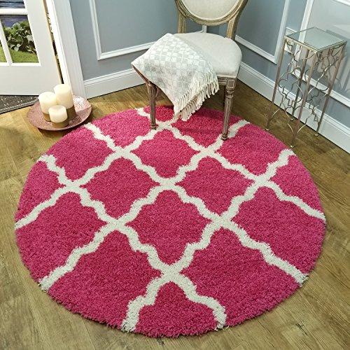 Maxy Home Bella Trellis Pink 5 ft. Round Shag Area Rug