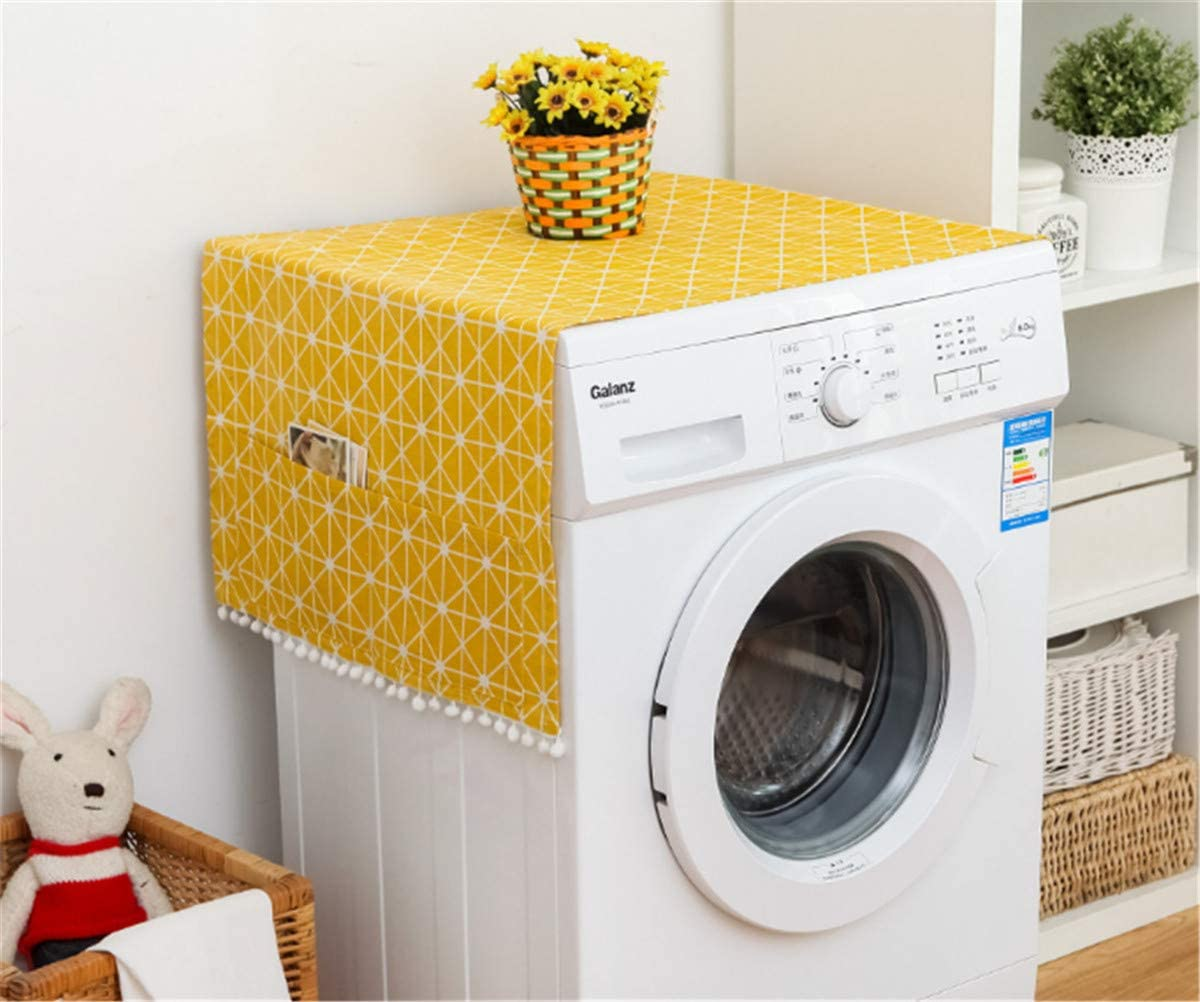 Annchaos Washing Machine Cover Dust Oil Proof Dryer Top Loader Cloth with Side Storage Pockets Cotton Linen Kitchen Refrigerator Appliance Protector (Yellow Checkerboard)