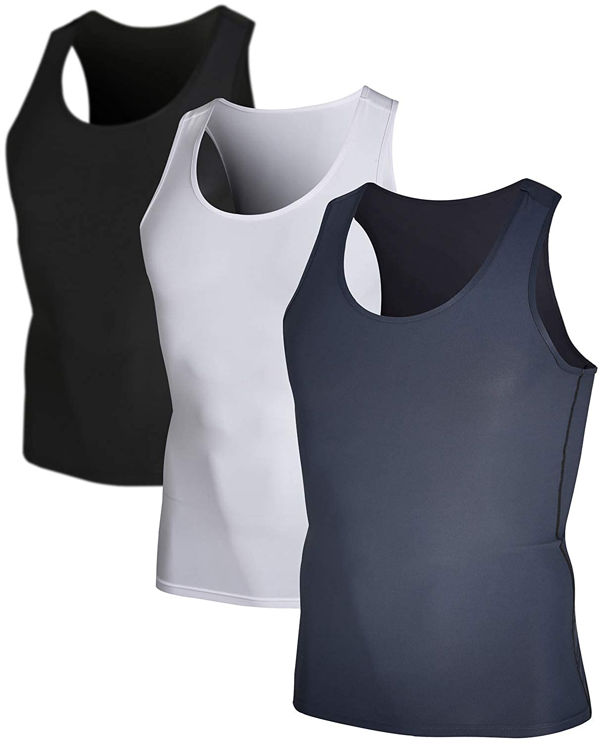DEVOPS Men's 3 Pack Sleeveless Athletic Cool Dry Compression Muscle Tank Top