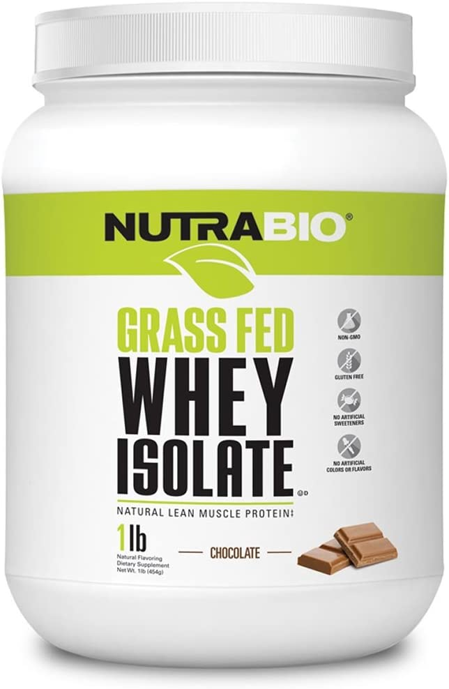 NutraBio Grass Fed Whey Isolate Protein Chocolate, 1 Pound