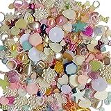 Chenkou Craft Random 100g/lot (around 450pcs) 4-20mm Half Round Pearls Seastar Bow Rose Rhinestone Flat Back Pearls Bead Loose Beads Gem
