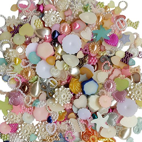 Chenkou Craft Random 100g/lot (Around 400pcs) 4-20mm Half Round Pearls Seastar Bow Rose Rhinestone Flat Back Pearls Bead Loose Beads Gem ()