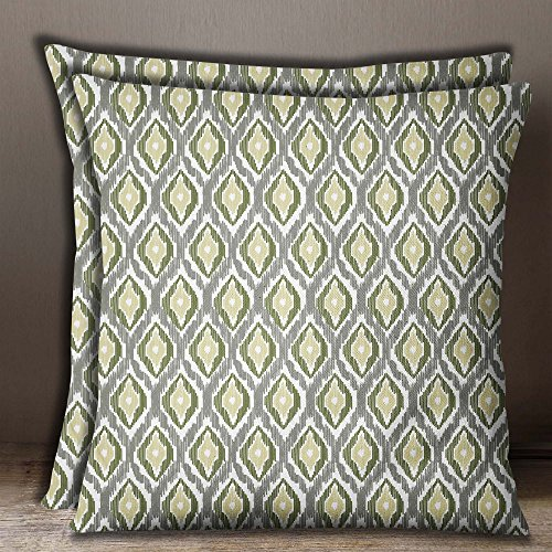 S4Sassy Home Decor Ikat Print Square Cushion Cover Gray Cotton Poplin Pillow Case 2 Pcs-22 x 22 Inches