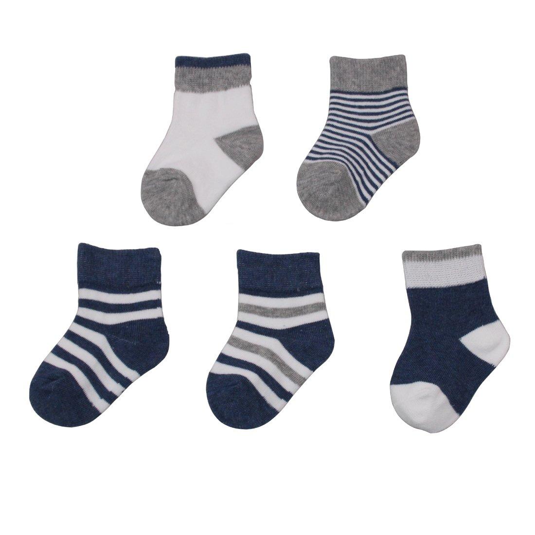 GUCHOL Baby Autumn Winter Warm Cotton Socks For Newborn Boys 5 Pairs 0 to 12 Months