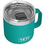YETI Rambler 14 oz Mug, Vacuum Insulated, Stainless Steel with MagSlider Lid, Aquifer Blue