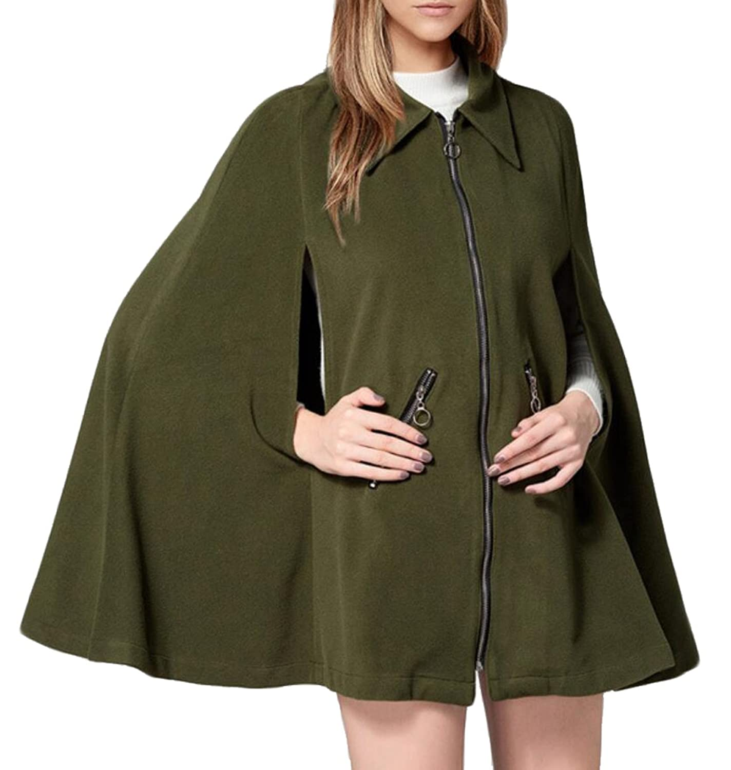Alion Women's Casual Winter Cloak Cape Woolen Coat Zipper