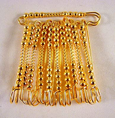 Sarvam Decorative Safety Pins Saree Pins Brooch One Side of Safety Pin Decorated with Diamonds Set of 12