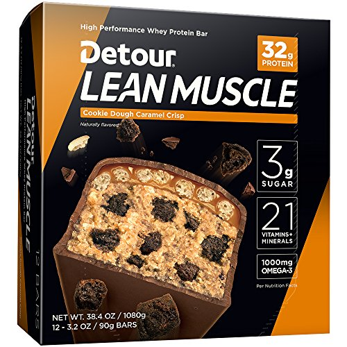 Detour Lean Muscle Whey Protein Bar, Cookie Dough Caramel Crisp, 3.2 Ounce (Pack of 12) (Best 30 Gram Protein Bars)