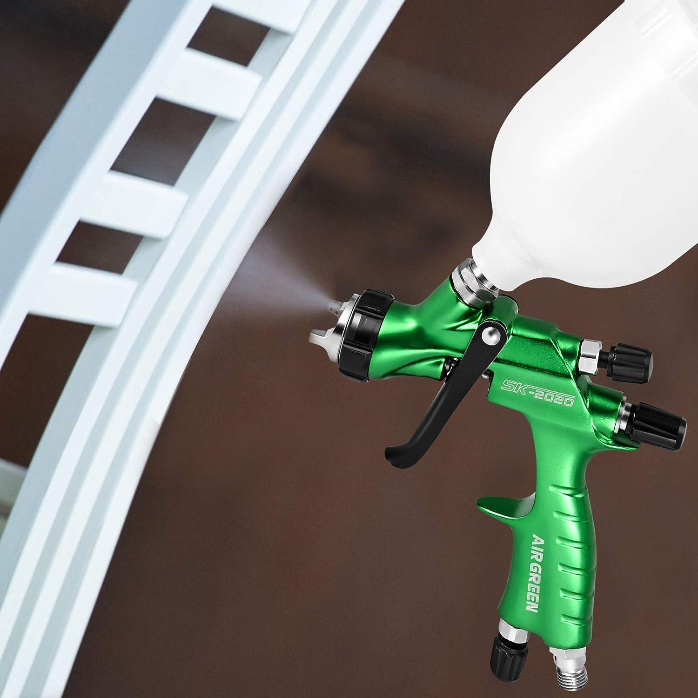 PaNt HVLP Pistola de pulverización con boquilla de acero inoxidable de 1,3 mm y botella de 600 ml con regulador de presión de aire,pistola de pulverización de alta atomización