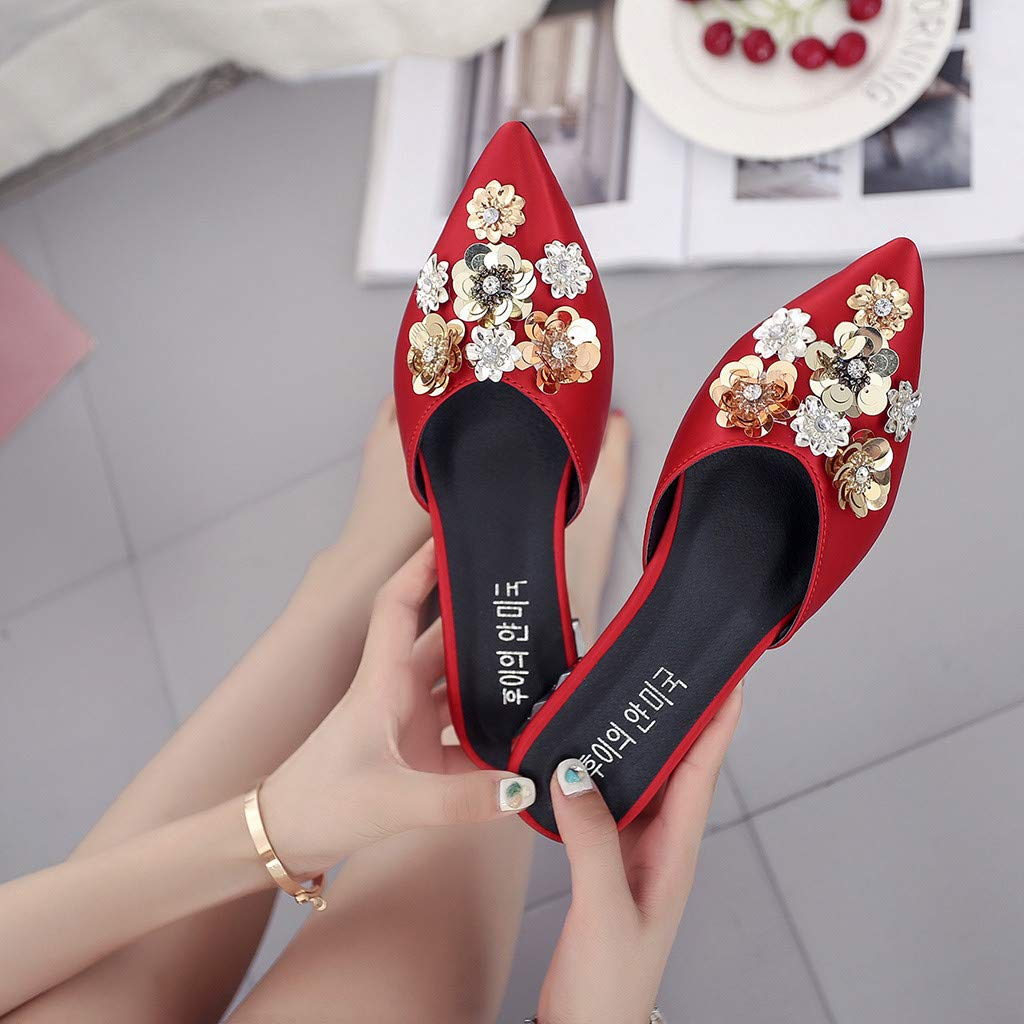 Women Summer Fashion Square Heels Slippers Sandals Casual Shoes Ladies Girls Pointed Toe Floral Outdoor Slides