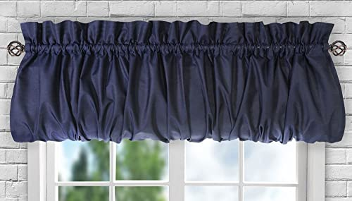Ellis Curtain Stacey Sheer Balloon Valance, 60 x 15 , Navy