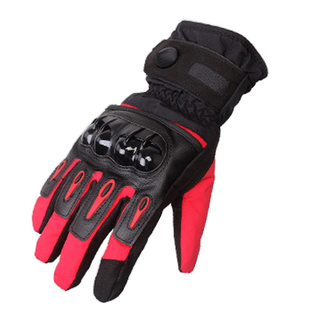 DOXUNGO Full Finger Motorcycle Gloves Warm Waterproof Outdoor Gloves Motorbike Motocross Gloves Touch Screen Gloves XL, red