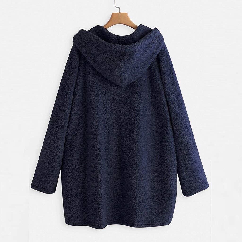 WGROBU Frauen Hoodies Wintermantel Sweatshirt Frauen Hoodie Langarm Tasche Sweatshirt Button Plus Size Warmes Top Frauen Kleidung Outwear Blue