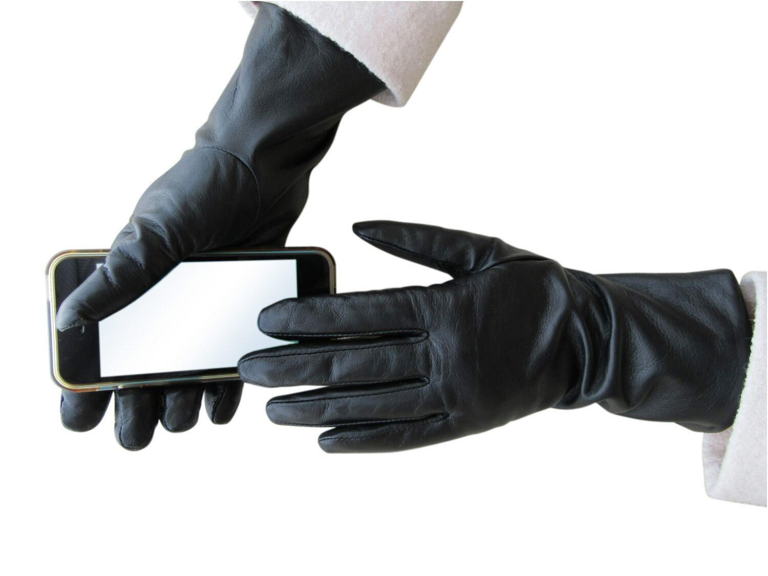 Fownes Women's Cashmere Lined Black Conductive Lambskin Leather Gloves 8/XL by Fownes Brothers (Image #4)