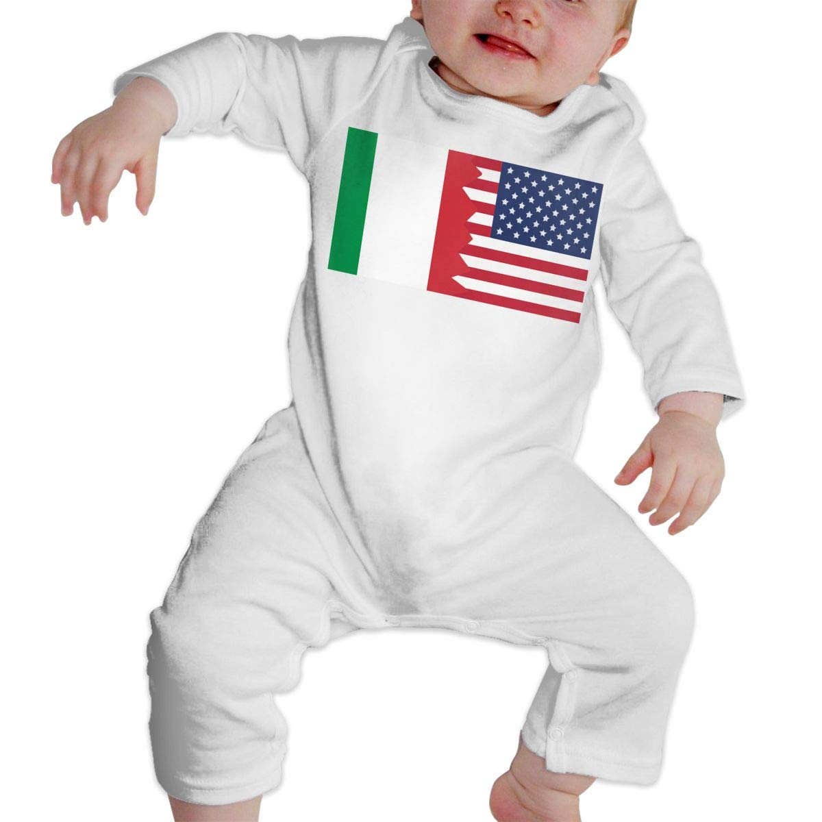A1BY-5US Newborn Baby Boys Girls Cotton Long Sleeve Italian USA Flag Jumpsuit Romper One-Piece Romper Clothes