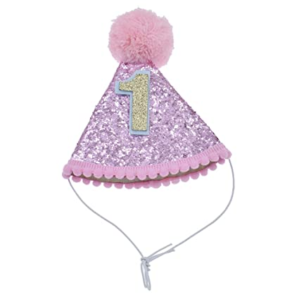 Hongma Birthday Hat With Paillette For Pets 1 To 4 Year Old Party