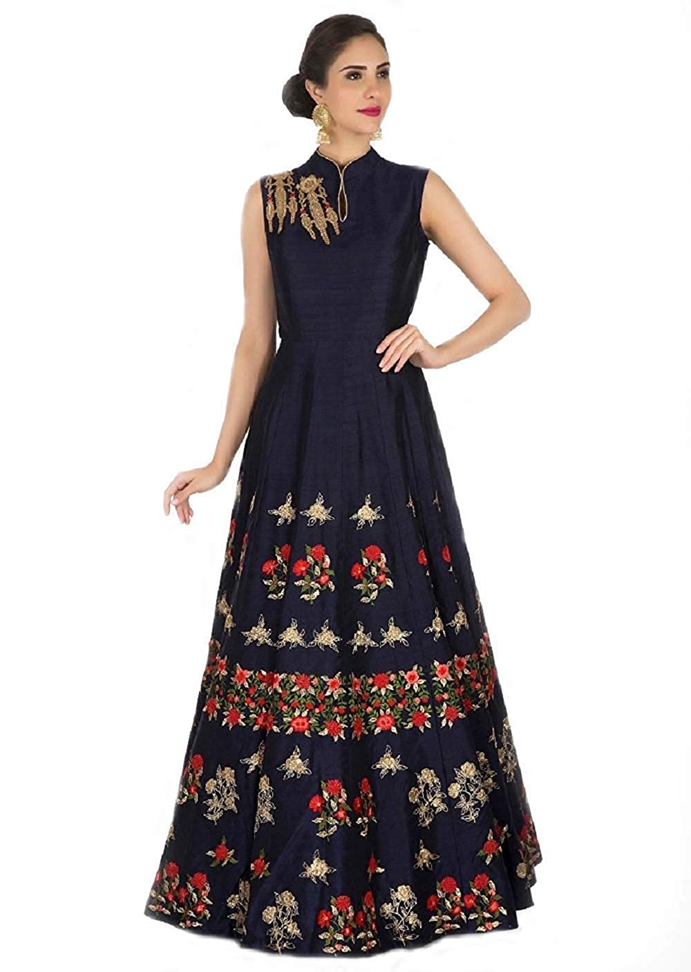 361095cb80 Queen of India affeta Silk Embroidered Semi-Stitched Anarkali Gown ...