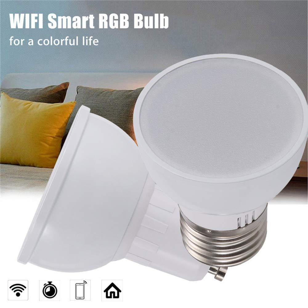 Fernbedienung WiFi Bulb kein Hub erforderlich RGBW WiFi Smart Light WANGLAI 1 Paket Smart WiFi Bulb 6W Kompatibel mit Alexa Google Home GU10 E27 GU5.3 Optional