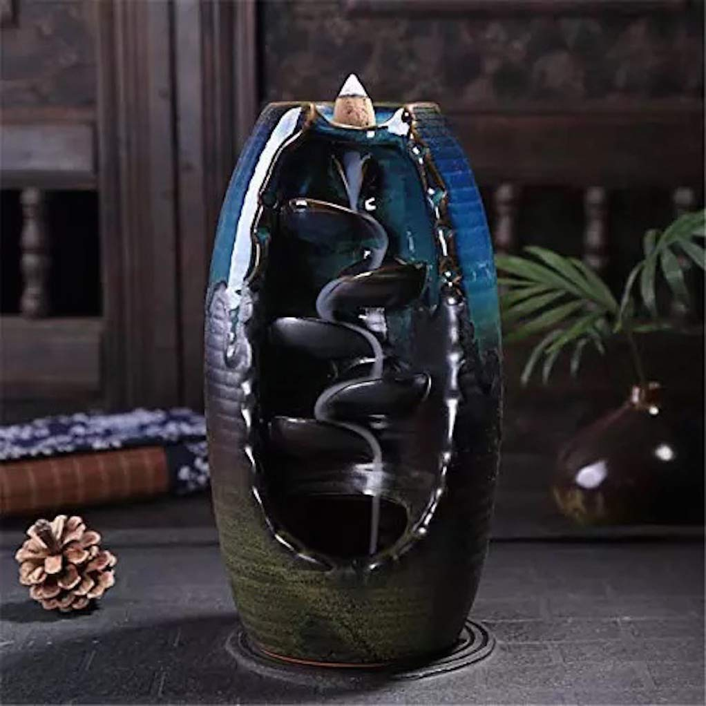 L!GHTUP Ceramic Backflow Incense Burner Waterfall Incense Holder + 20 Free Cones, for Home Decor Aromatherapy Relaxation Gifts by L!GHTUP (Image #4)