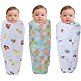 Wonder Wee Multipurpose Baby Swaddle Cotton Soft 2 Layered Blanket (44 x 44-inches) - Pack of 3