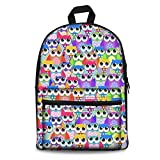 Showudesigns Trippy Owl Designer School Bag Unisex Children Canvas Backpack