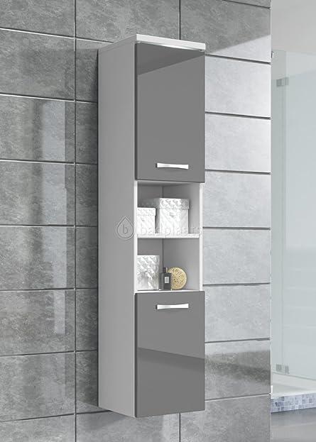Badezimmer Schrank Paso 160 cm Hochglanz Grau Fronten – Regal ...