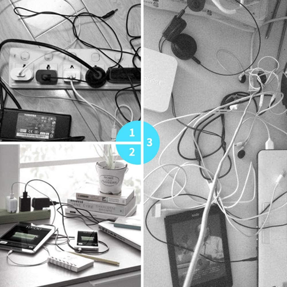 Onegirl Wire Desktop Organizer 5PCS Cross Silicone Cable Clips,Automatic Paste,Charging Cable Organizer,Desktop Winder Management Headphone Cord Holder for iPhone Black 5PC