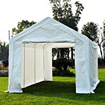 Outsunny 10'x20' 2-in-1 Carport Gazebo Canopy with Extension Kit Garden Wedding Party Tent with 4 Sidewalls, White