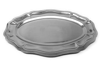 Magefesa - Bandeja Oval en Acero Inoxidable - Modelo Luis XV - 45 cm: Amazon.es: Hogar