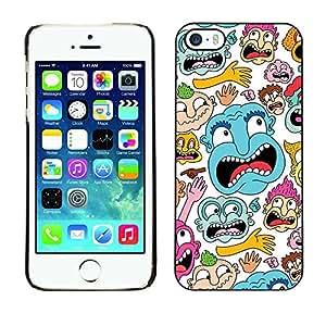 Caucho caso de Shell duro de la cubierta de accesorios de protección BY RAYDREAMMM - Apple iPhone 5 / 5S - Face Portrait Cartoon Comic Character Colorful Art